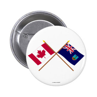 Canada and Montserrat Crossed Flags 2 Inch Round Button