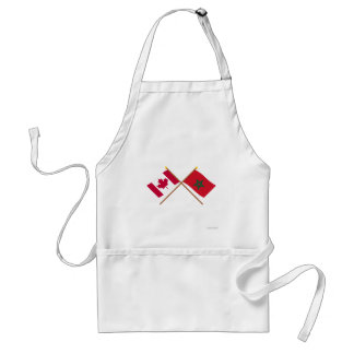 Canada and Morocco Crossed Flags Adult Apron