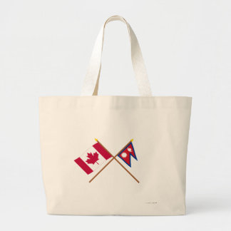 Canada and Nepal Crossed Flags Jumbo Tote Bag