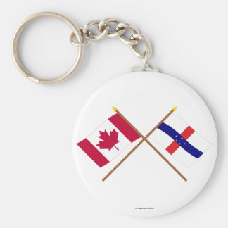 Canada and Netherlands Antilles Crossed Flags Keychains