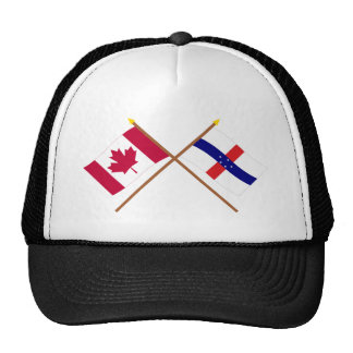 Canada and Netherlands Antilles Crossed Flags Trucker Hat