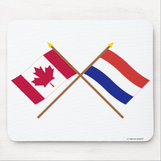 Canada and Netherlands Crossed Flags Mouse Pad