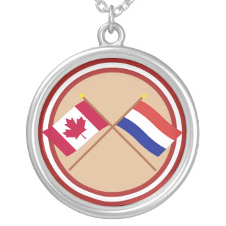 Canada and Netherlands Crossed Flags Round Pendant Necklace