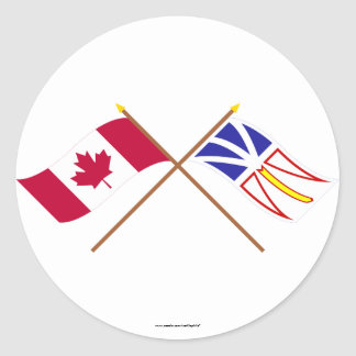 Canada and Newfoundland Crossed Flags Sticker