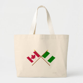 Canada and Nigeria Crossed Flags Jumbo Tote Bag