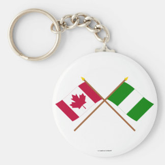 Canada and Nigeria Crossed Flags Keychain