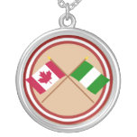 Canada and Nigeria Crossed Flags Round Pendant Necklace