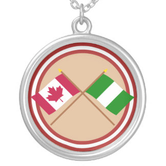 Canada and Nigeria Crossed Flags Silver Plated Necklace