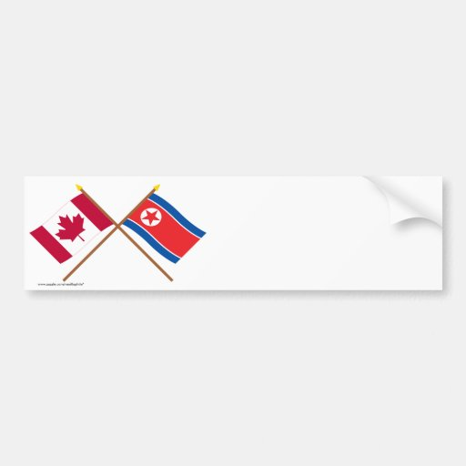 Canada and North Korea Crossed Flags Bumper Stickers