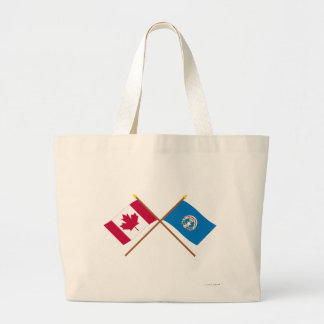 Canada and Northern Marianas Crossed Flags Jumbo Tote Bag
