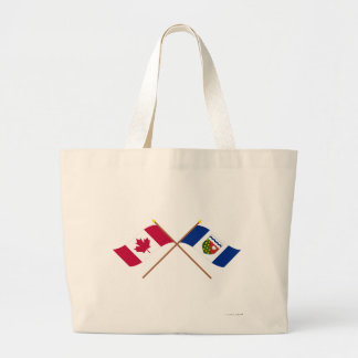 Canada and Northwest Territories Crossed Flags Canvas Bag