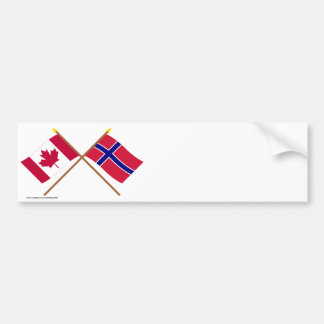 Canada and Norway Crossed Flags Bumper Sticker