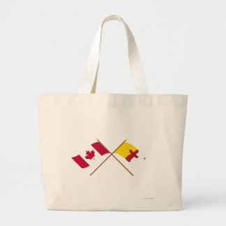 Canada and Nunavut Crossed Flags Jumbo Tote Bag