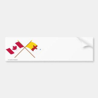 Canada and Nunavut Crossed Flags Car Bumper Sticker
