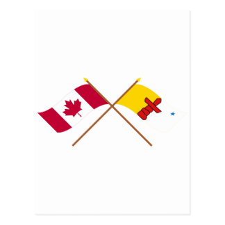 Canada and Nunavut Crossed Flags Postcard