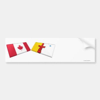 Canada and Nunavut Flag Tiles Car Bumper Sticker