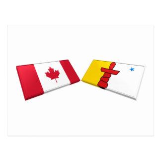 Canada and Nunavut Flag Tiles Postcard