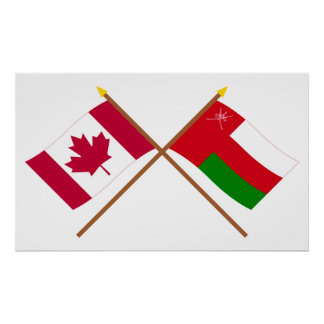 Canada and Oman Crossed Flags Poster