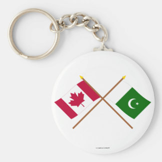 Canada and Pakistan Crossed Flags Keychain
