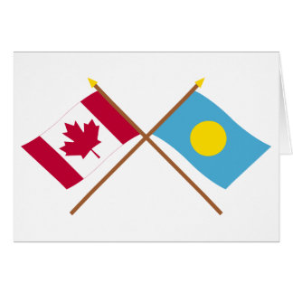 Canada and Palau Crossed Flags Card