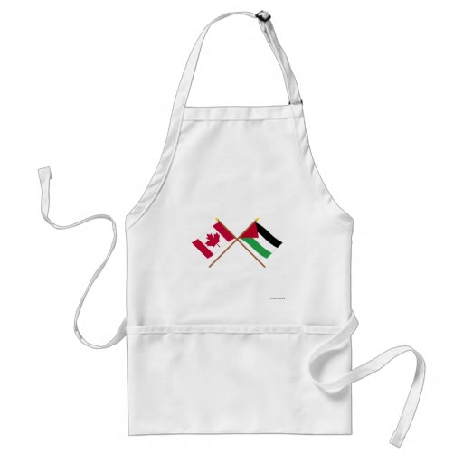 Canada and Palestinian Movement Crossed Flags Adult Apron