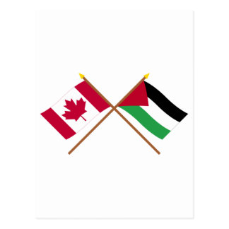 Canada and Palestinian Movement Crossed Flags Postcard