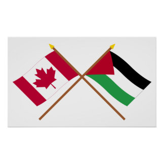Canada and Palestinian Movement Crossed Flags Poster