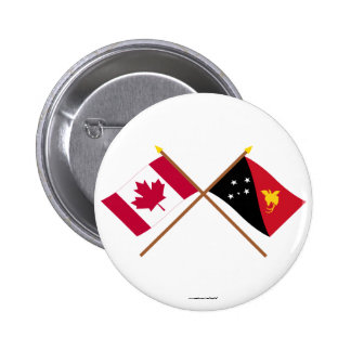 Canada and Papua-New Guinea Crossed Flags Pinback Button