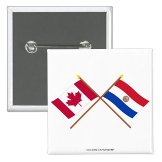 Canada and Paraguay Crossed Flags 2 Inch Square Button