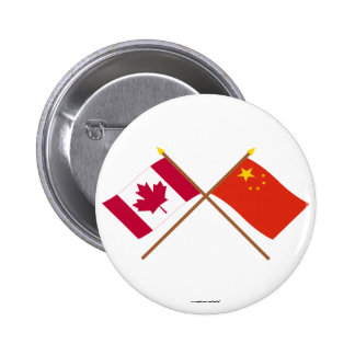 Canada and People's Republic of China Crossed Flag Buttons