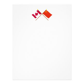 Canada and People's Republic of China Crossed Flag Letterhead Template