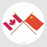 Canada and People's Republic of China Crossed Flag Round Sticker