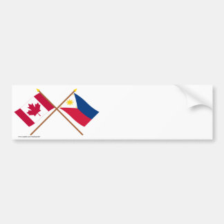 Canada and Philippines Crossed Flags Car Bumper Sticker