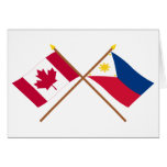 Canada and Philippines Crossed Flags Greeting Card