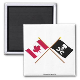 Canada and Pirate Crossed Flags 2 Inch Square Magnet