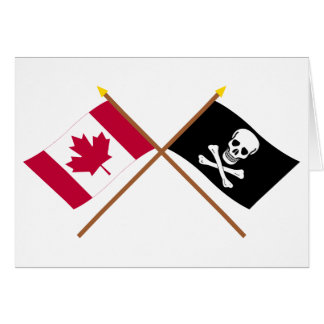 Canada and Pirate Crossed Flags Greeting Card