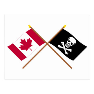 Canada and Pirate Crossed Flags Postcard