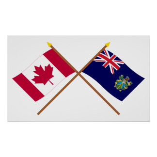Canada and Pitcairn Islands Crossed Flags Poster
