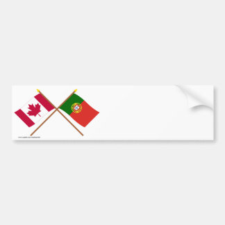 Canada and Portugal Crossed Flags Bumper Sticker