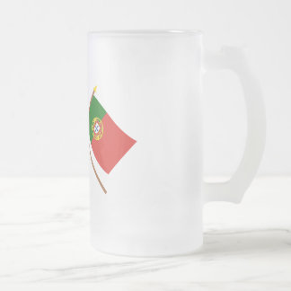 Canada and Portugal Crossed Flags Frosted Glass Beer Mug