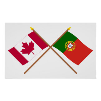 Canada and Portugal Crossed Flags Poster