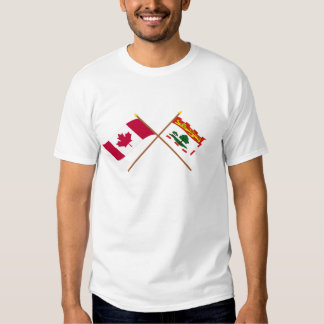 Canada and Prince Edward Island Crossed Flags T-Shirt