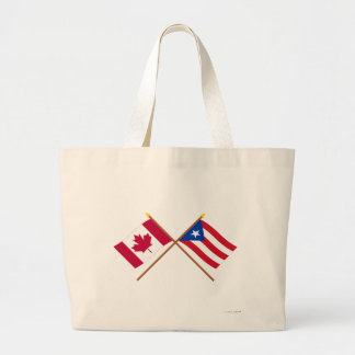 Canada and Puerto Rico Crossed Flags Jumbo Tote Bag