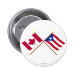 Canada and Puerto Rico Crossed Flags 2 Inch Round Button