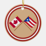 Canada and Puerto Rico Crossed Flags Christmas Ornament