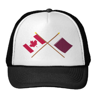 Canada and Qatar Crossed Flags Trucker Hats