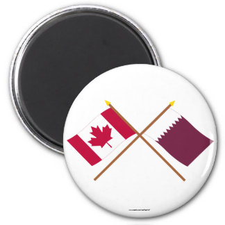 Canada and Qatar Crossed Flags Fridge Magnets