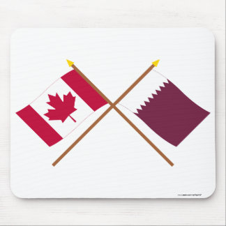Canada and Qatar Crossed Flags Mousepads