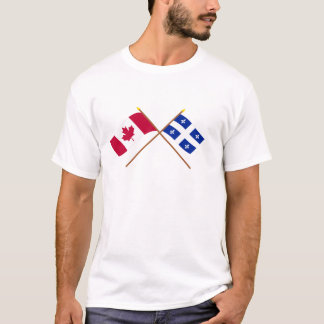 Canada and Quebec Crossed Flags T-Shirt