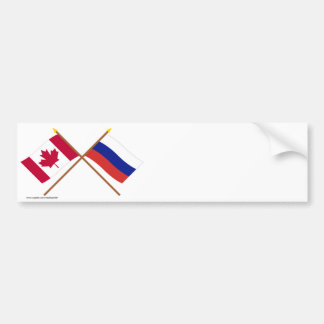 Canada and Russia Crossed Flags Bumper Stickers